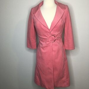 CYNTHIA STEFFE Pink Trench Coat with 3/4 sleeves